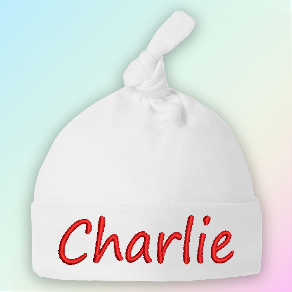 Name Only Embroidered Baby Knotted Hat Gift Personalised
