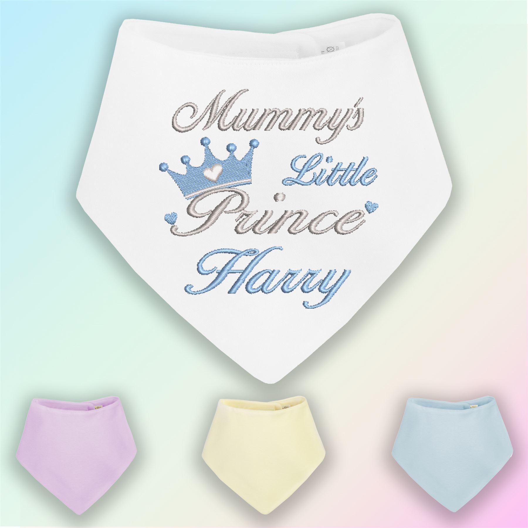 New Baby ANY NAME Personalised Baby Bandana Dribble Bib Embroidered Gift