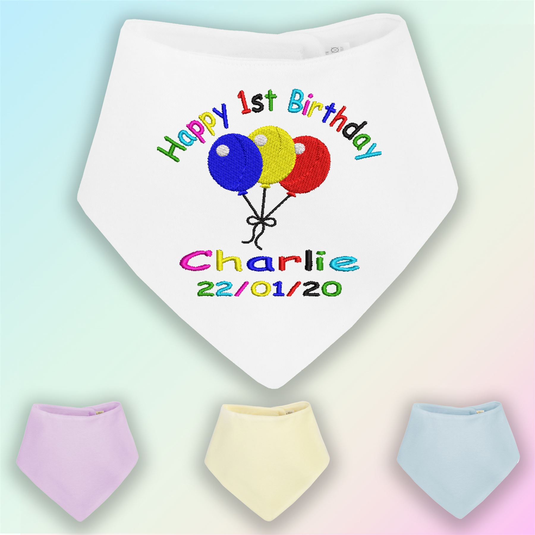 Happy 1st Birthday Boy Embroidered Baby Bandana Dribble Bib Gift Personalised