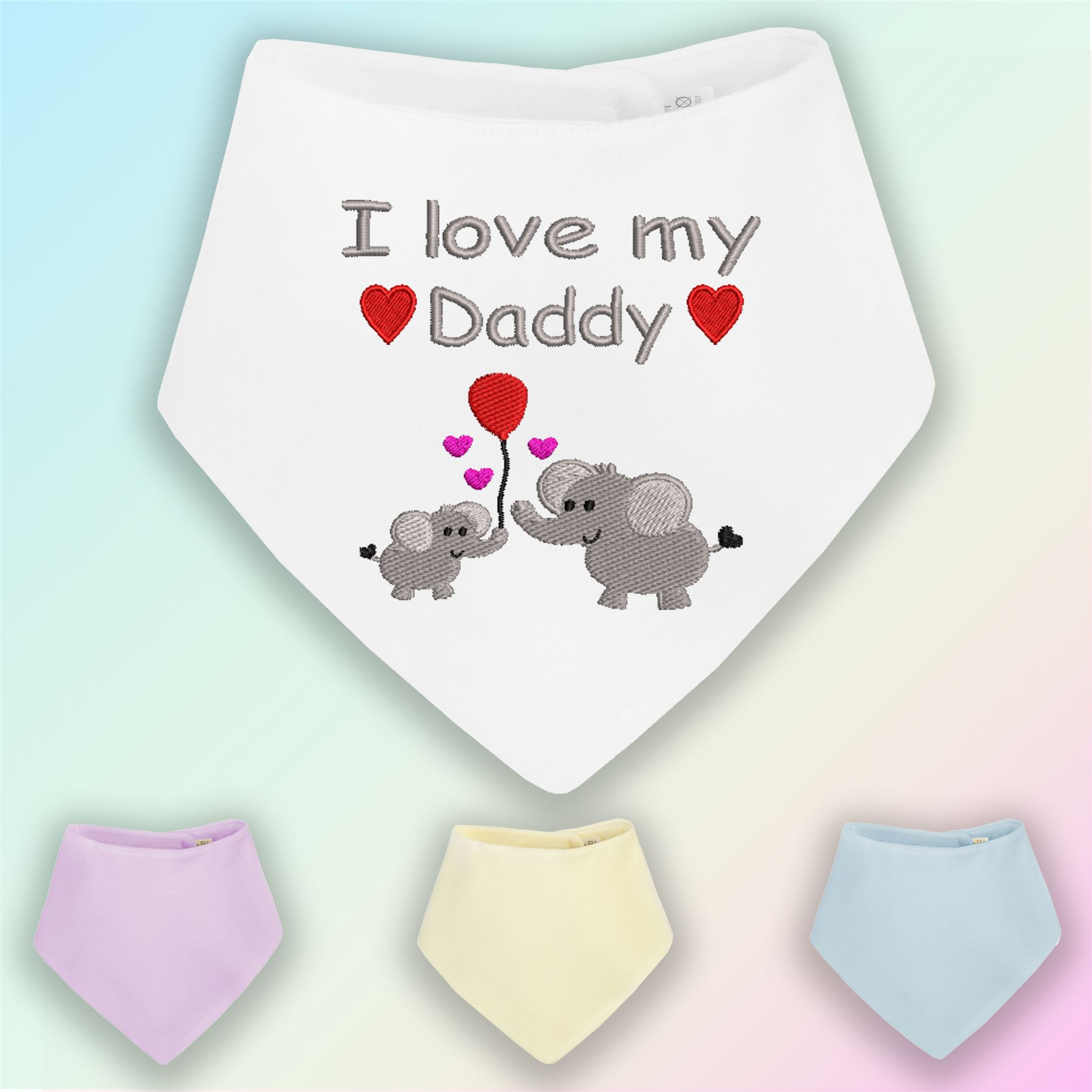 Mummys Little Girl Embroidered Baby Pull-Over Bib Gift Personalised Daughter Dad