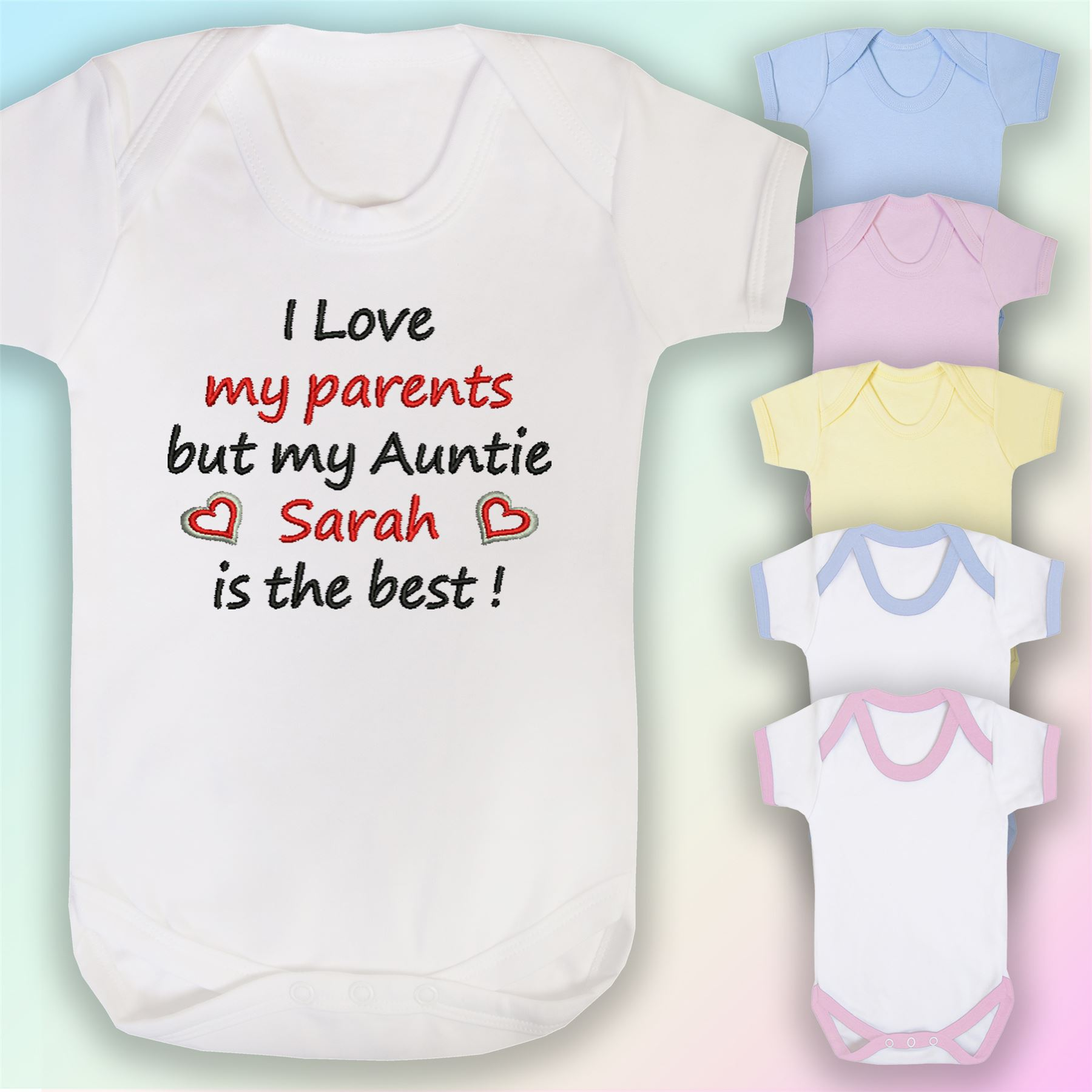My Auntie Is Best Embroidered Baby Romper Babygrow Gift Personalised Aunty Fun