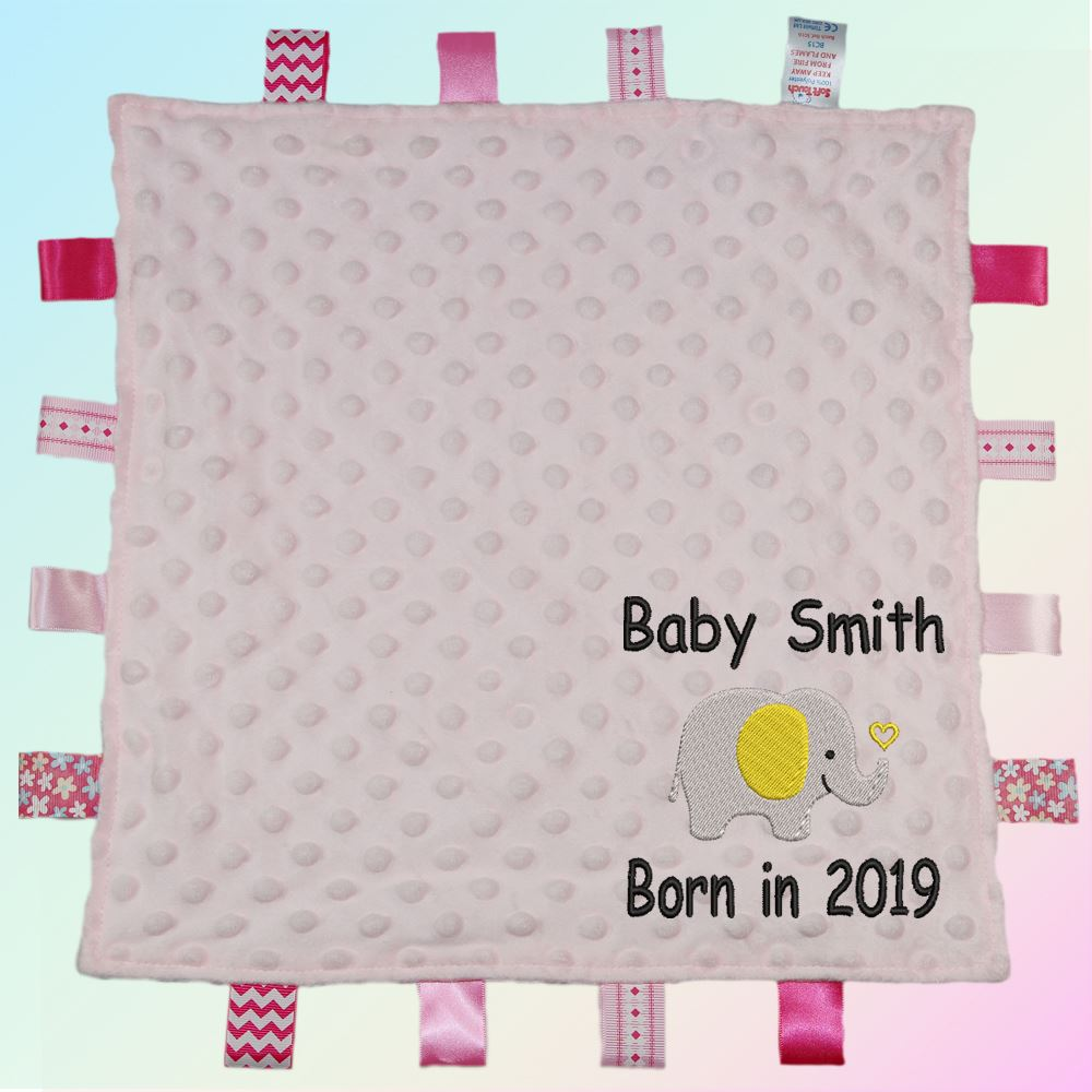 NEW SOFT TOUCH BABY COMFORTER BLANKET BOY GIRL TAGGY-BLUE//WHITE//CREAM OR PINK