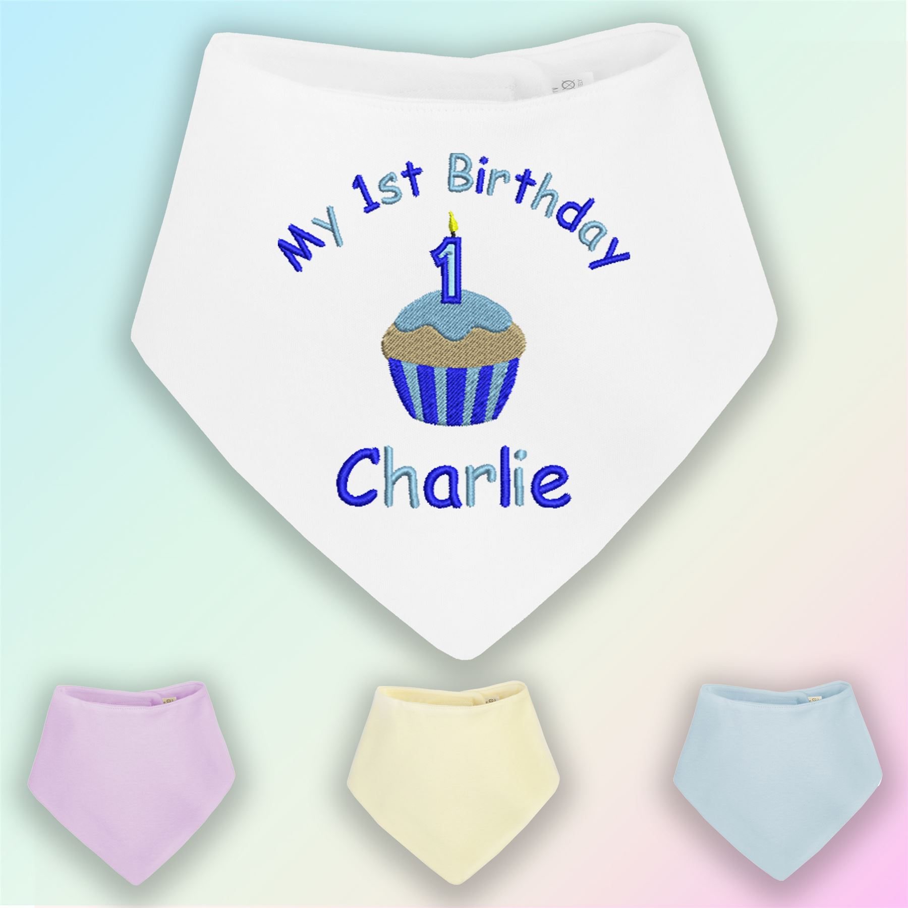 Awesome My 1St Birthday Cake Boy Embroidered Baby Bandana Dribble Bib Funny Birthday Cards Online Alyptdamsfinfo