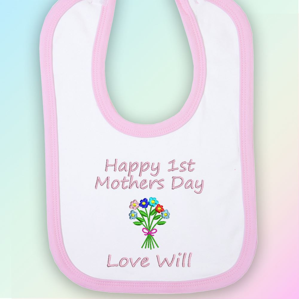 Happy-1st-Mother-039-s-Day-Flowers-Embroidered-Baby-Bib-Gift-Personalised