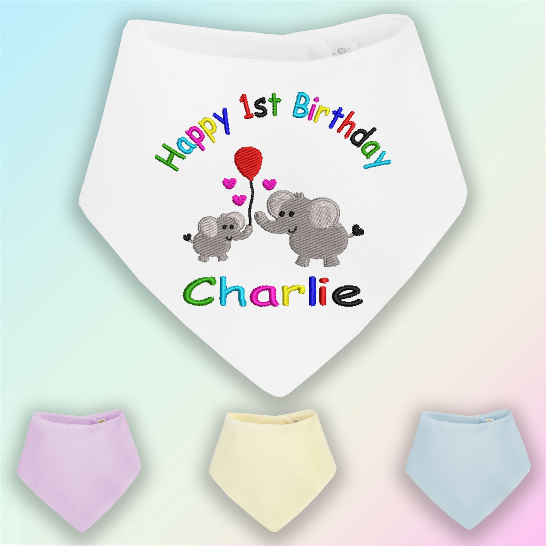 1st Birthday Rainbow Embroidered Baby Bandana Dribble Bib Gift Personalised