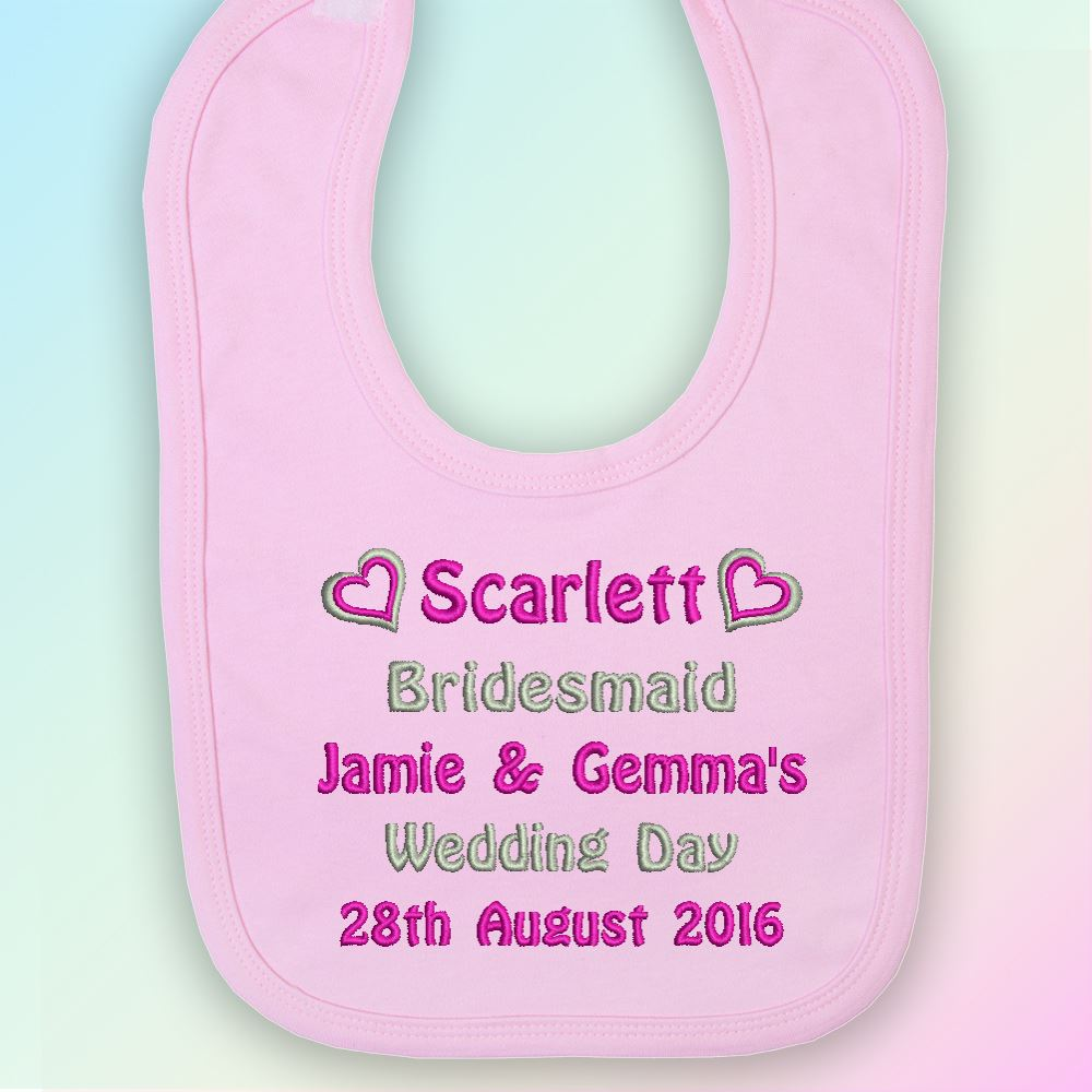 Bridesmaid Embroidered Baby Pull-Over Bib Gift Personalised Wedding