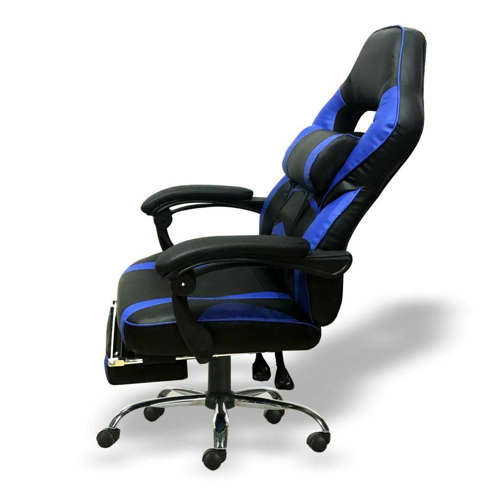 Silla-para-juegos-con-reclinable-silla-de-oficina-de-Carreras-Reposapies-Computadora-Escritorio miniatura 11
