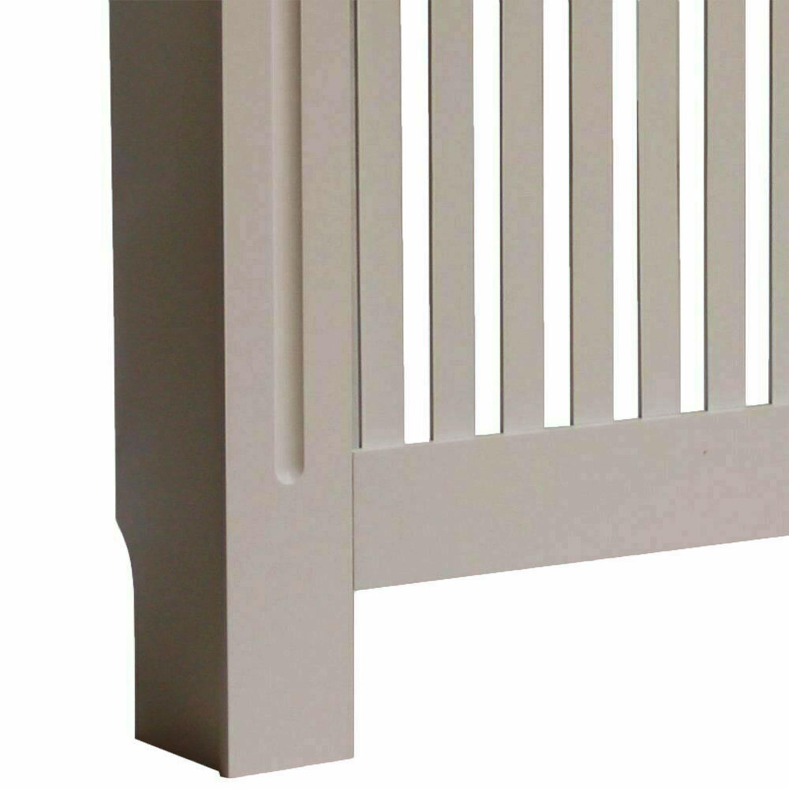 White-Radiator-Cover-Cabinet-Small-Large-Modern-MDF-Slat-Wood-Grill-Furniture miniatuur 49