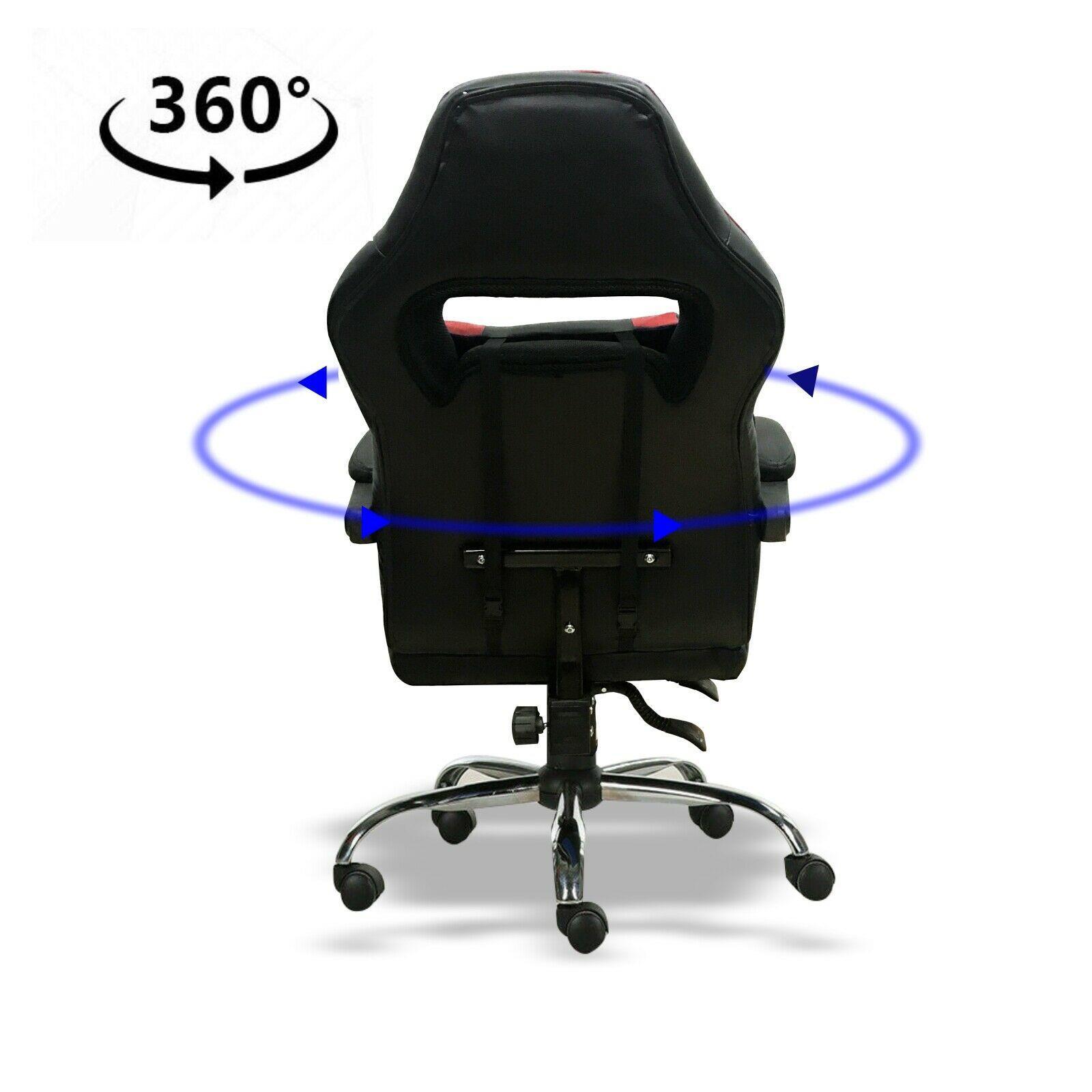 Silla-para-juegos-con-reclinable-silla-de-oficina-de-Carreras-Reposapies-Computadora-Escritorio miniatura 20