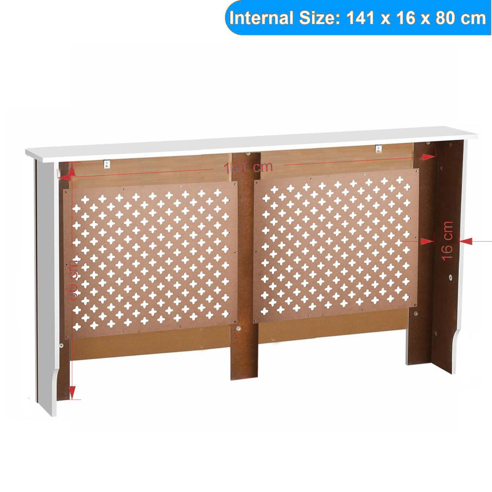 White-Radiator-Cover-Cabinet-Small-Large-Modern-MDF-Slat-Wood-Grill-Furniture miniatuur 42