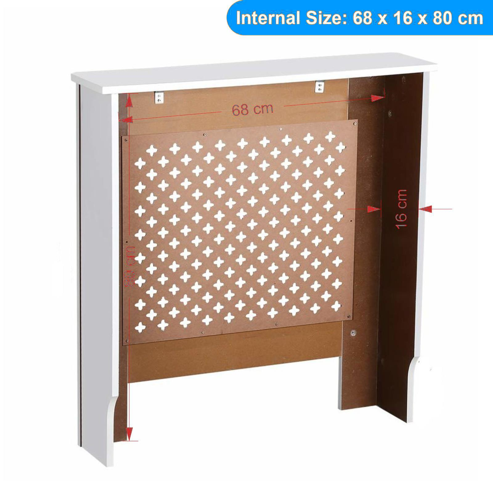 White-Radiator-Cover-Cabinet-Small-Large-Modern-MDF-Slat-Wood-Grill-Furniture miniatuur 39