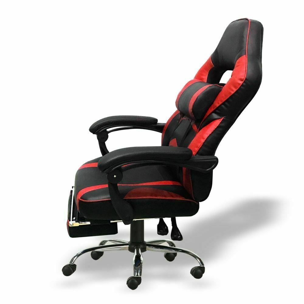 Silla-para-juegos-con-reclinable-silla-de-oficina-de-Carreras-Reposapies-Computadora-Escritorio miniatura 19