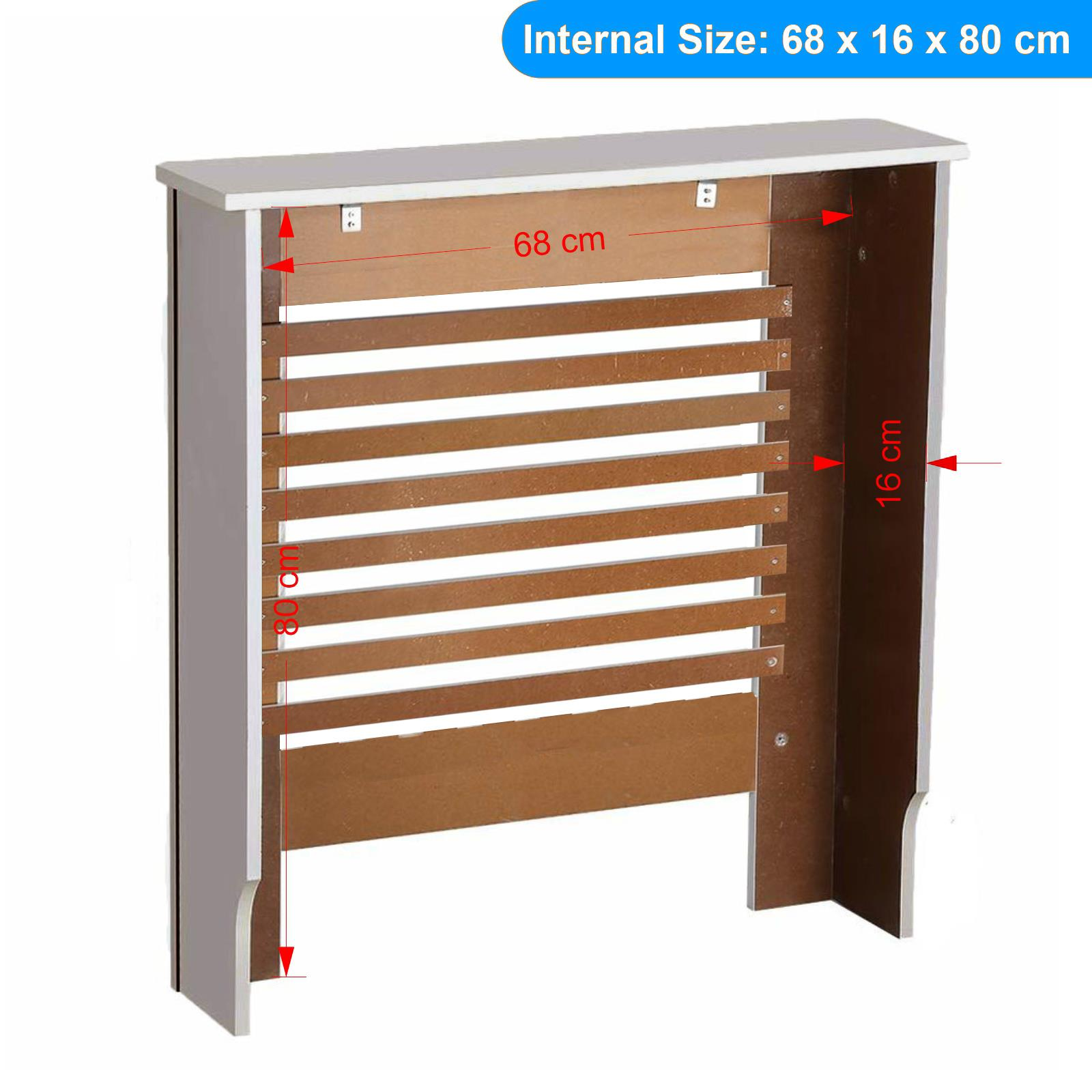 White-Radiator-Cover-Cabinet-Small-Large-Modern-MDF-Slat-Wood-Grill-Furniture miniatuur 14