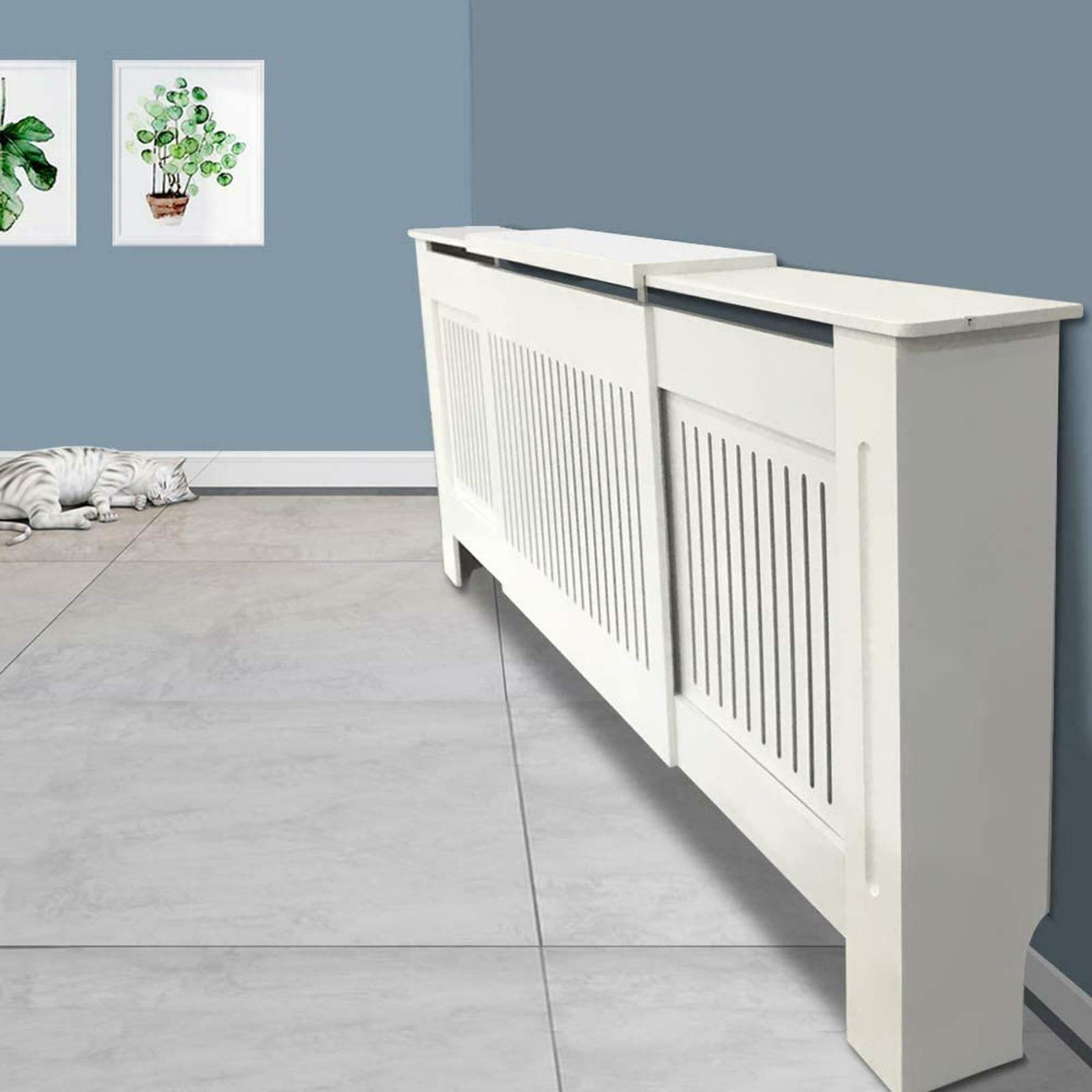 White-Radiator-Cover-Cabinet-Small-Large-Modern-MDF-Slat-Wood-Grill-Furniture miniatuur 37