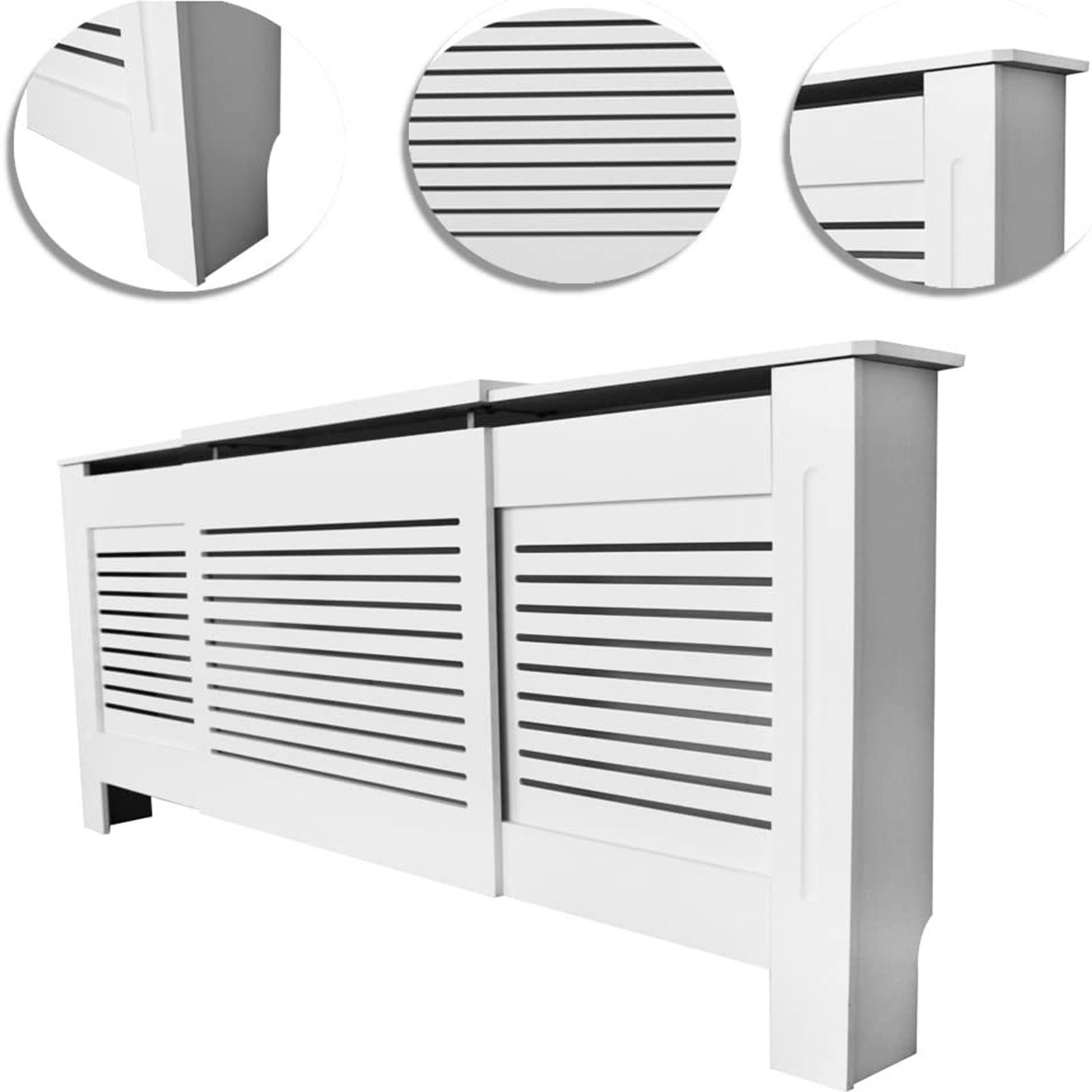 White-Radiator-Cover-Cabinet-Small-Large-Modern-MDF-Slat-Wood-Grill-Furniture miniatuur 25