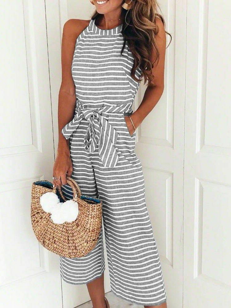 Womens-Jumpsuit-Ladies-Playsuit-UK-Summer-Beach-Holiday-Striped-Dress-Plus-Size thumbnail 20