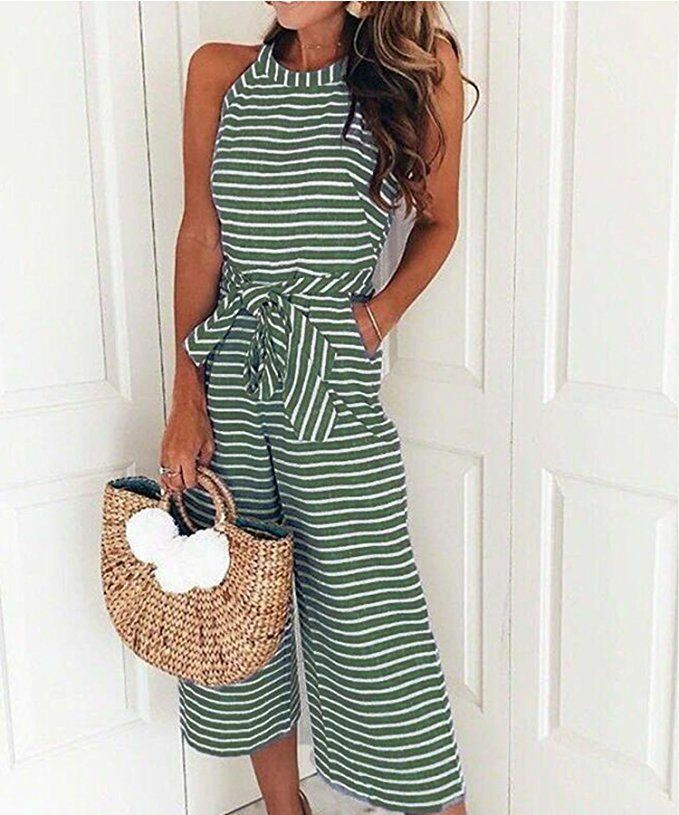 Womens-Jumpsuit-Ladies-Playsuit-UK-Summer-Beach-Holiday-Striped-Dress-Plus-Size thumbnail 16