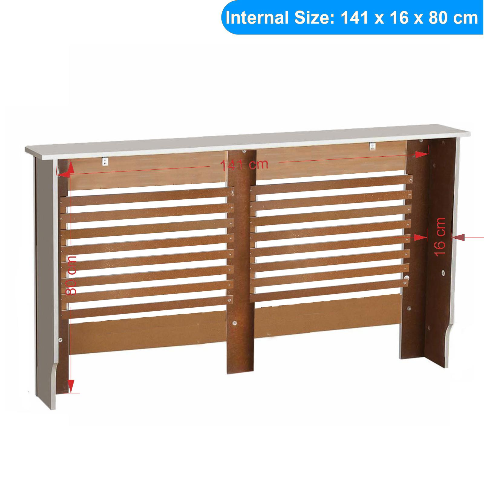 White-Radiator-Cover-Cabinet-Small-Large-Modern-MDF-Slat-Wood-Grill-Furniture miniatuur 16