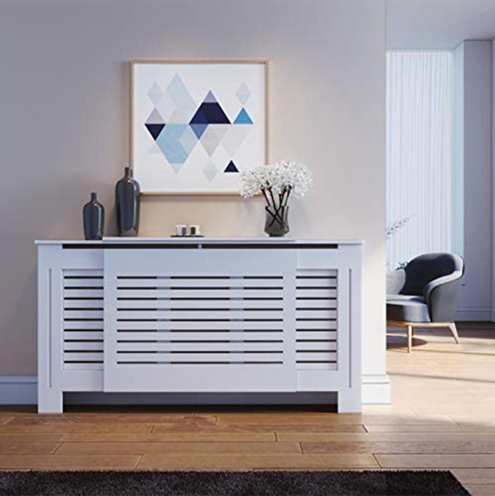 White-Radiator-Cover-Cabinet-Small-Large-Modern-MDF-Slat-Wood-Grill-Furniture miniatuur 20