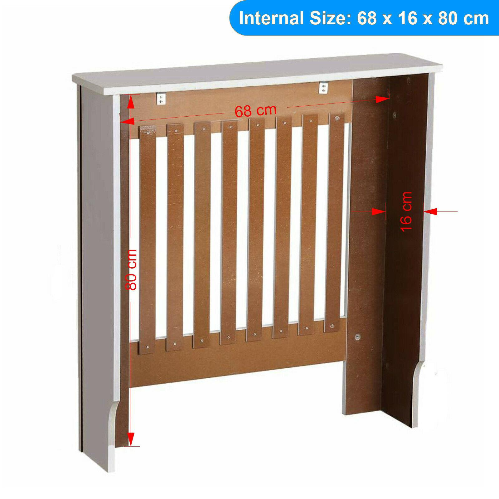 White-Radiator-Cover-Cabinet-Small-Large-Modern-MDF-Slat-Wood-Grill-Furniture miniatuur 48
