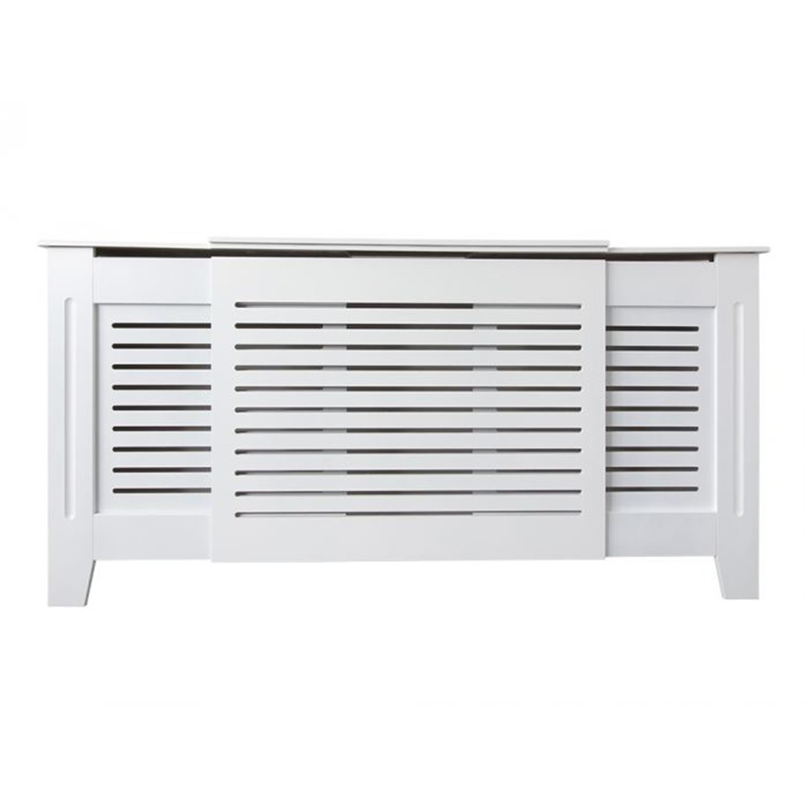 White-Radiator-Cover-Cabinet-Small-Large-Modern-MDF-Slat-Wood-Grill-Furniture miniatuur 22