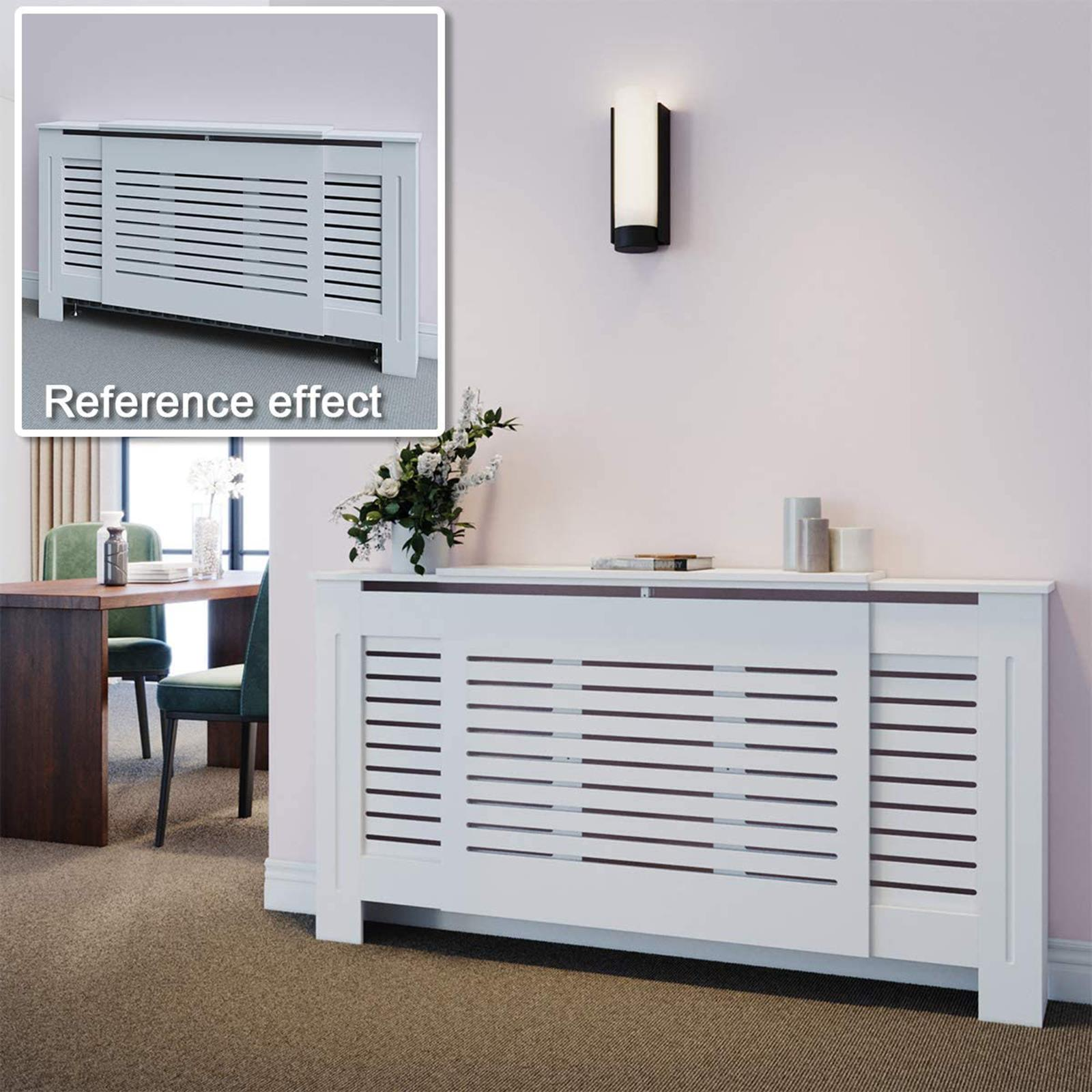 White-Radiator-Cover-Cabinet-Small-Large-Modern-MDF-Slat-Wood-Grill-Furniture miniatuur 24