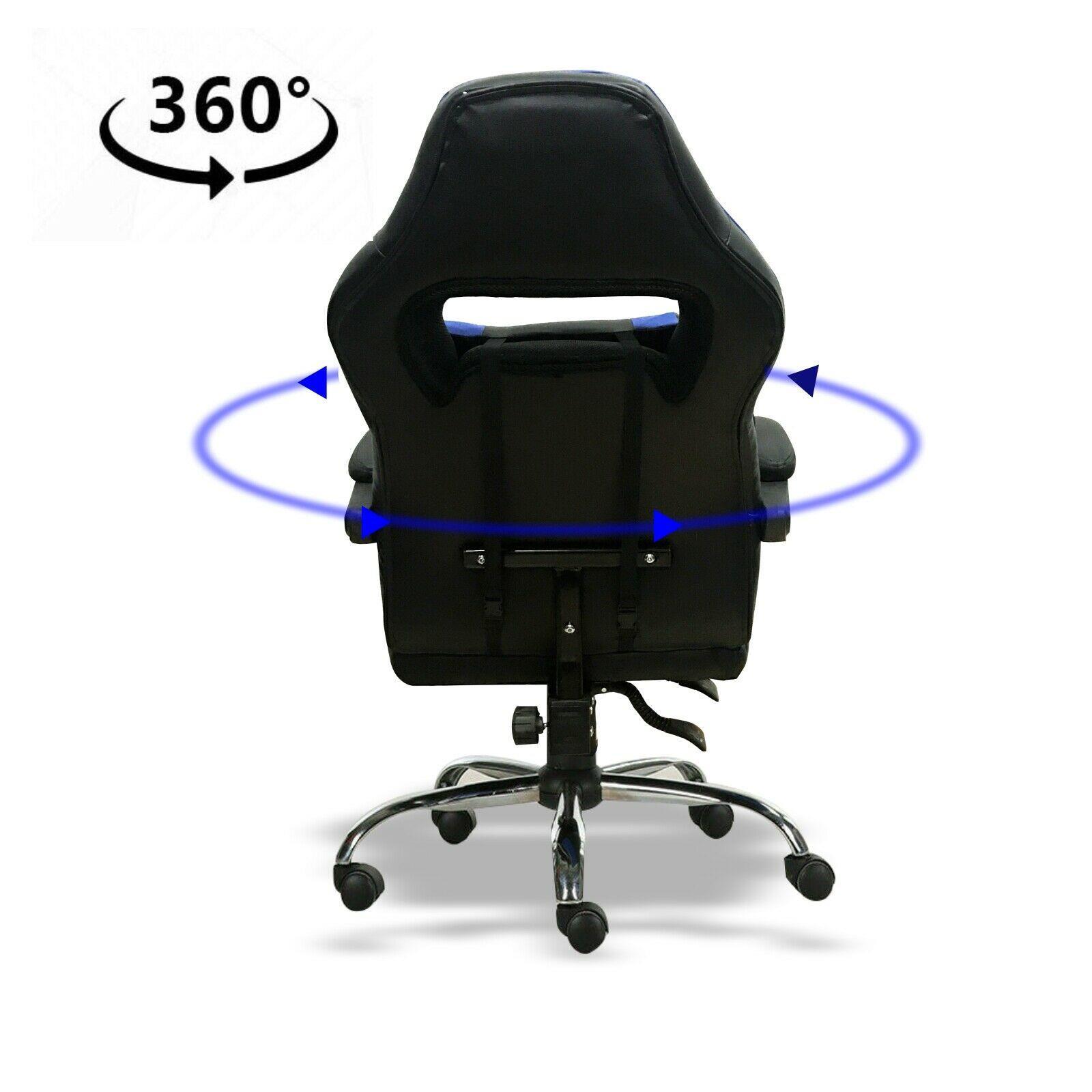 Silla-para-juegos-con-reclinable-silla-de-oficina-de-Carreras-Reposapies-Computadora-Escritorio miniatura 12
