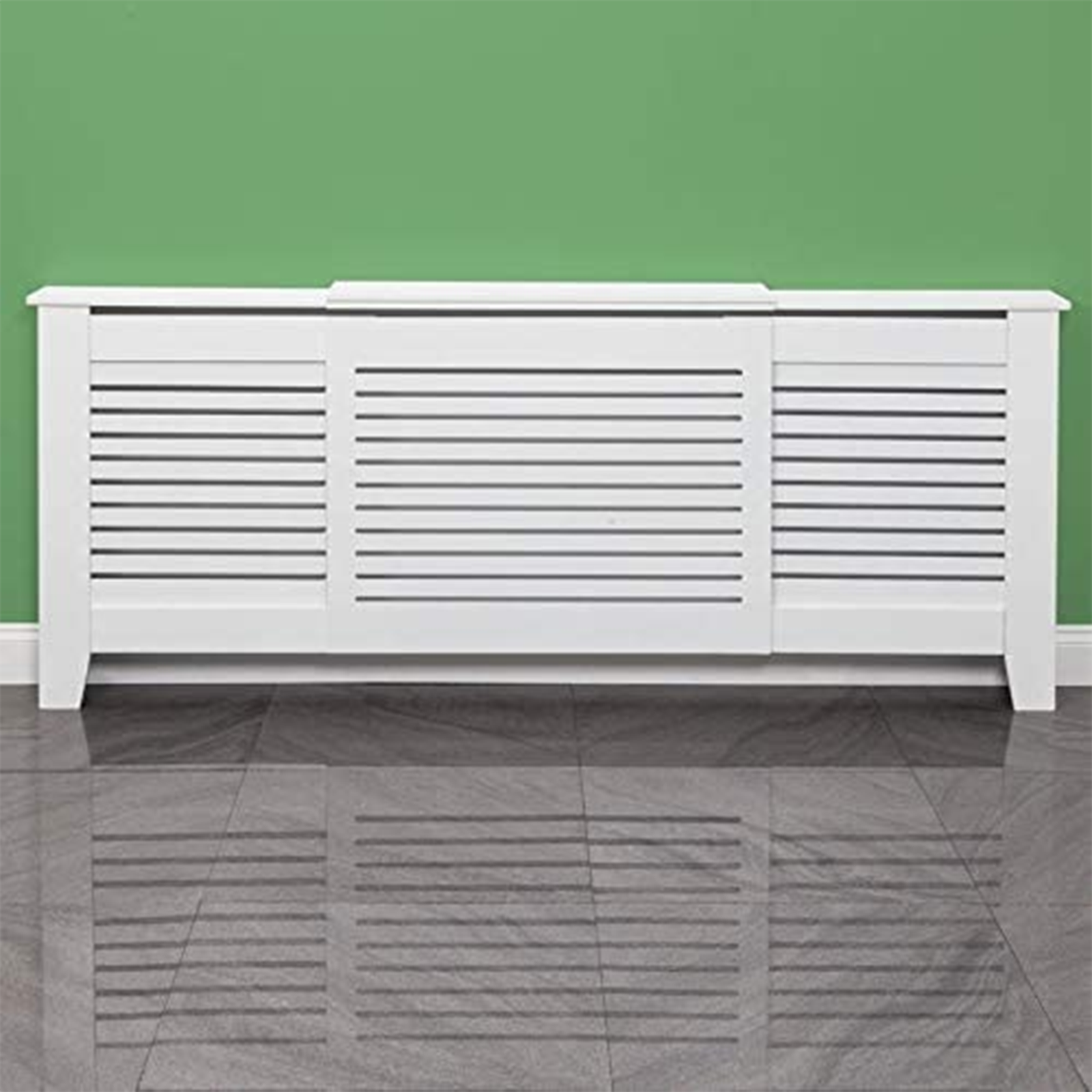White-Radiator-Cover-Cabinet-Small-Large-Modern-MDF-Slat-Wood-Grill-Furniture miniatuur 29