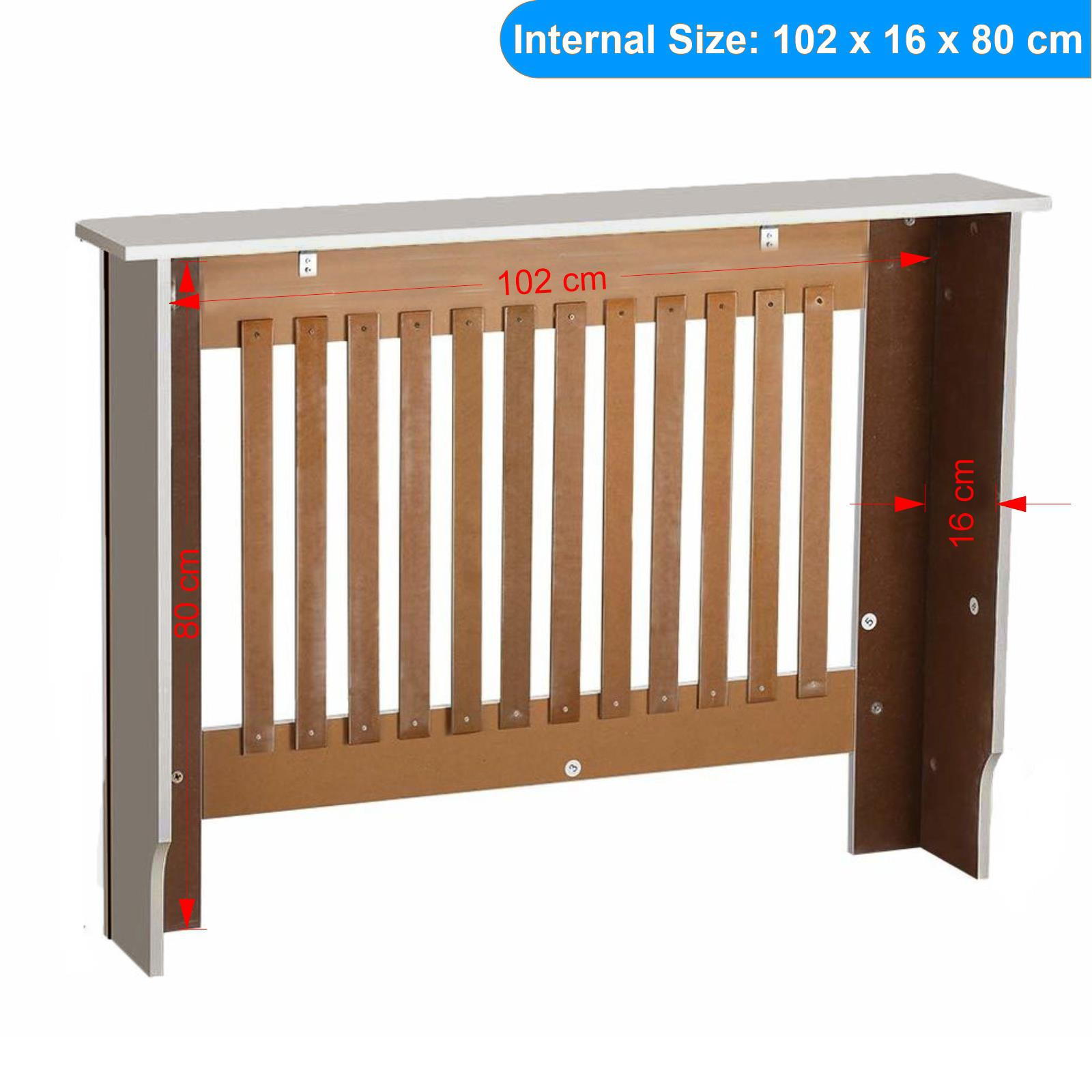 White-Radiator-Cover-Cabinet-Small-Large-Modern-MDF-Slat-Wood-Grill-Furniture miniatuur 33