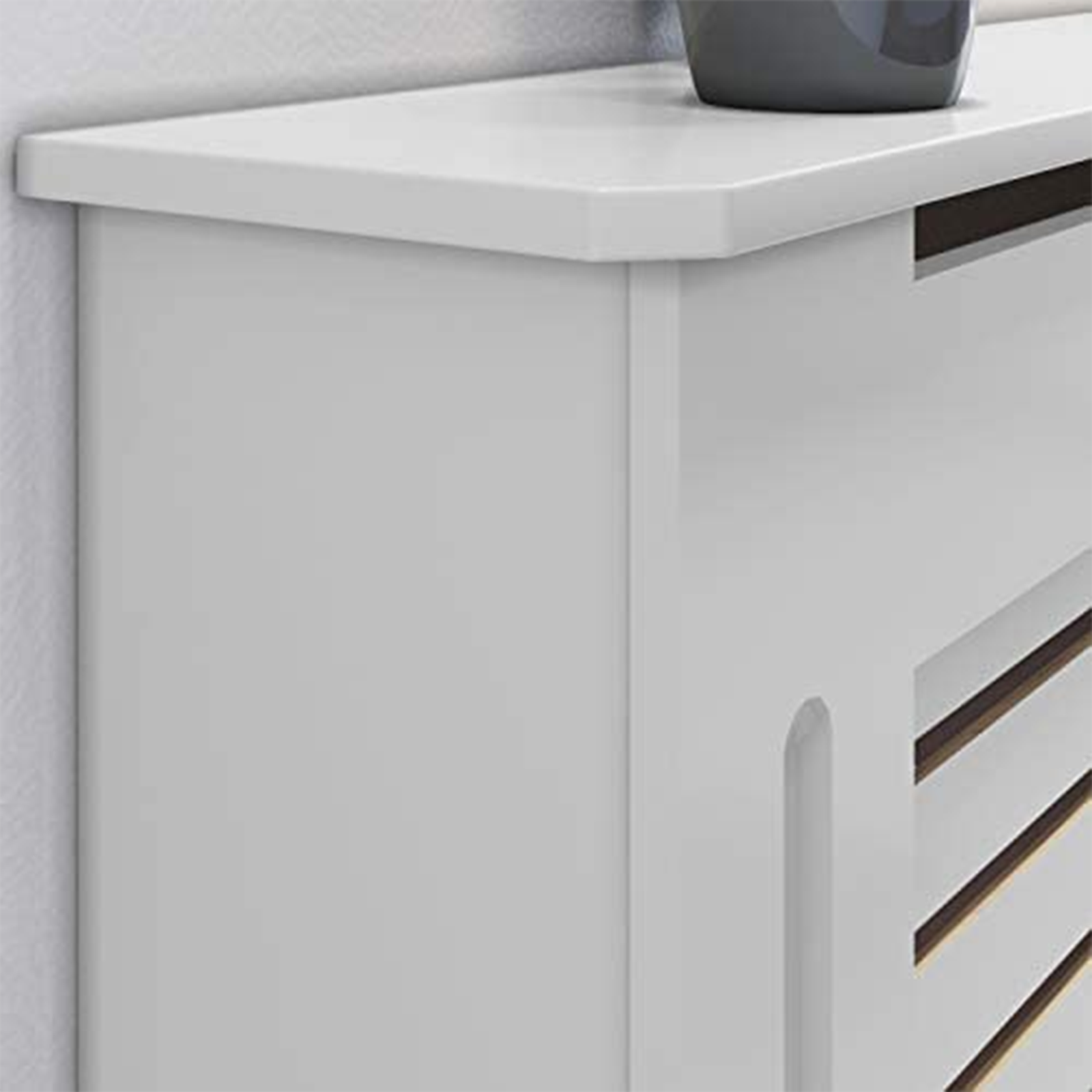 White-Radiator-Cover-Cabinet-Small-Large-Modern-MDF-Slat-Wood-Grill-Furniture miniatuur 27