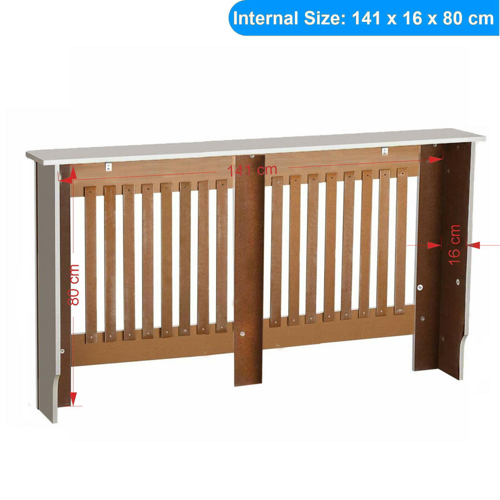 White-Radiator-Cover-Cabinet-Small-Large-Modern-MDF-Slat-Wood-Grill-Furniture miniatuur 44