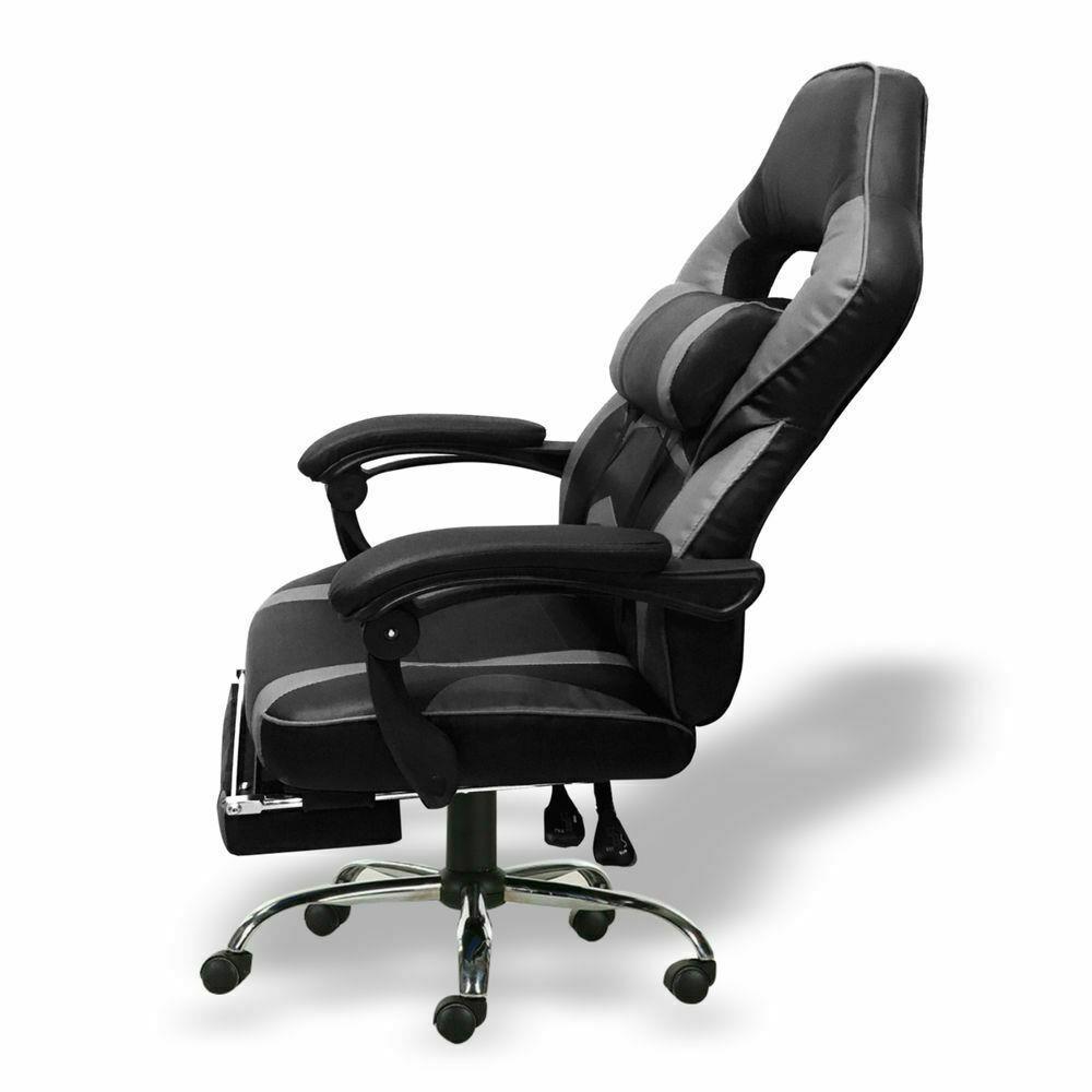 Silla-para-juegos-con-reclinable-silla-de-oficina-de-Carreras-Reposapies-Computadora-Escritorio miniatura 15