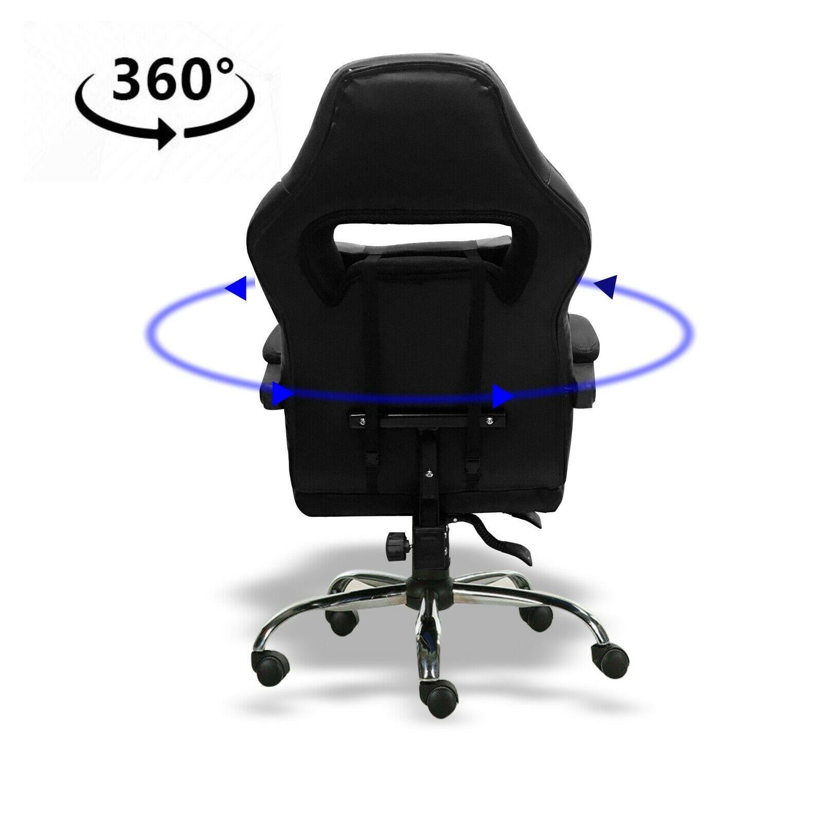 Silla-para-juegos-con-reclinable-silla-de-oficina-de-Carreras-Reposapies-Computadora-Escritorio miniatura 16