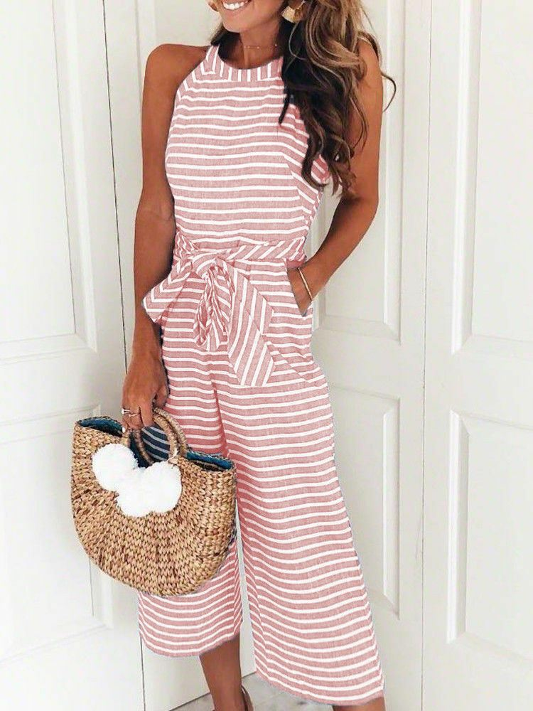 Womens-Jumpsuit-Ladies-Playsuit-UK-Summer-Beach-Holiday-Striped-Dress-Plus-Size thumbnail 24