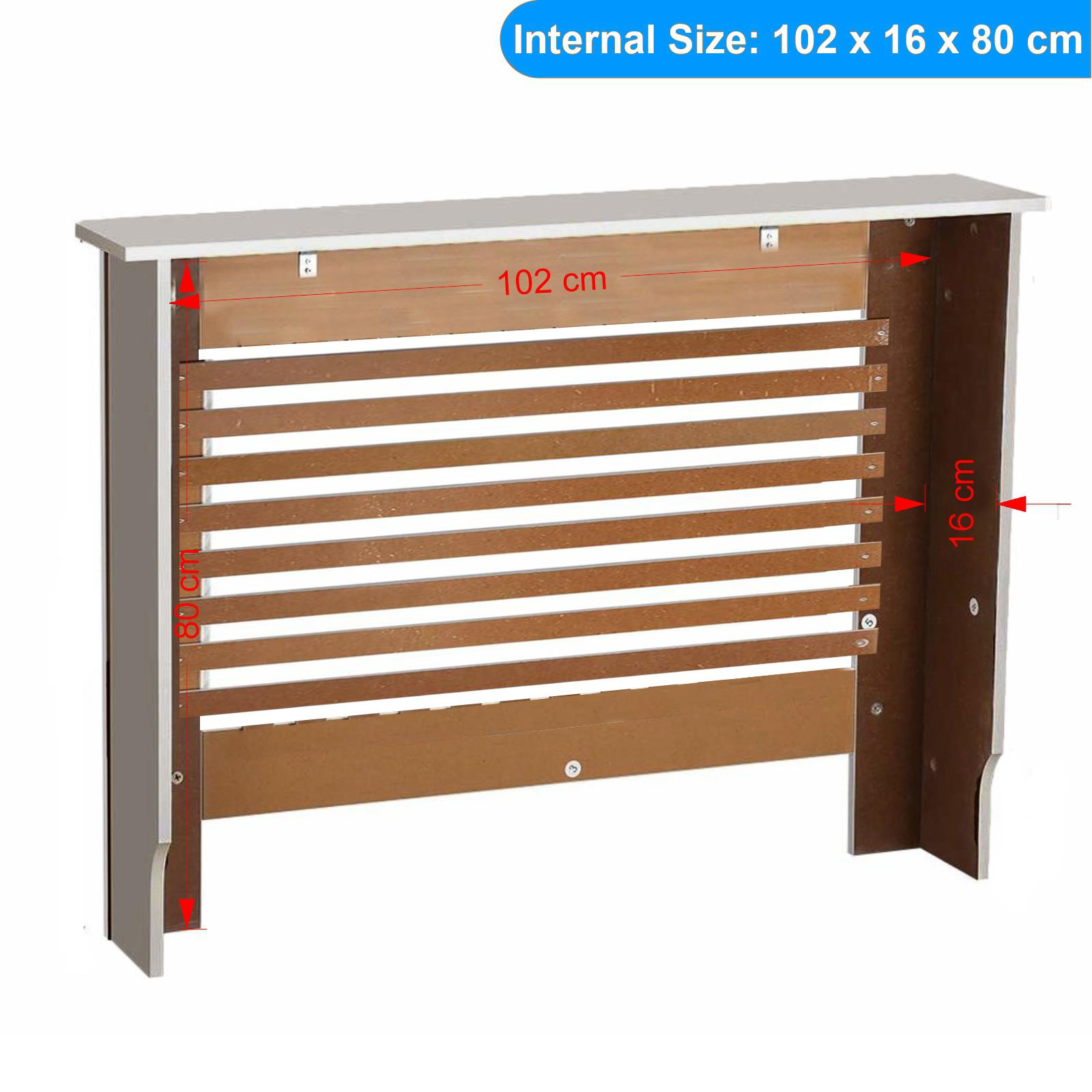 White-Radiator-Cover-Cabinet-Small-Large-Modern-MDF-Slat-Wood-Grill-Furniture miniatuur 55