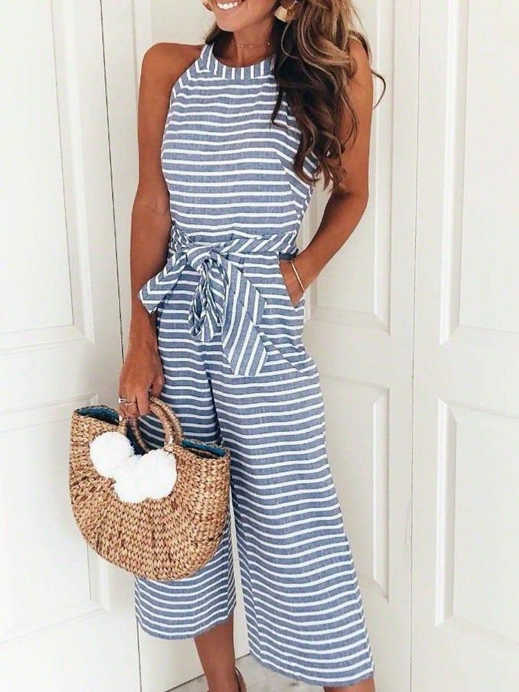 Womens-Jumpsuit-Ladies-Playsuit-UK-Summer-Beach-Holiday-Striped-Dress-Plus-Size thumbnail 12