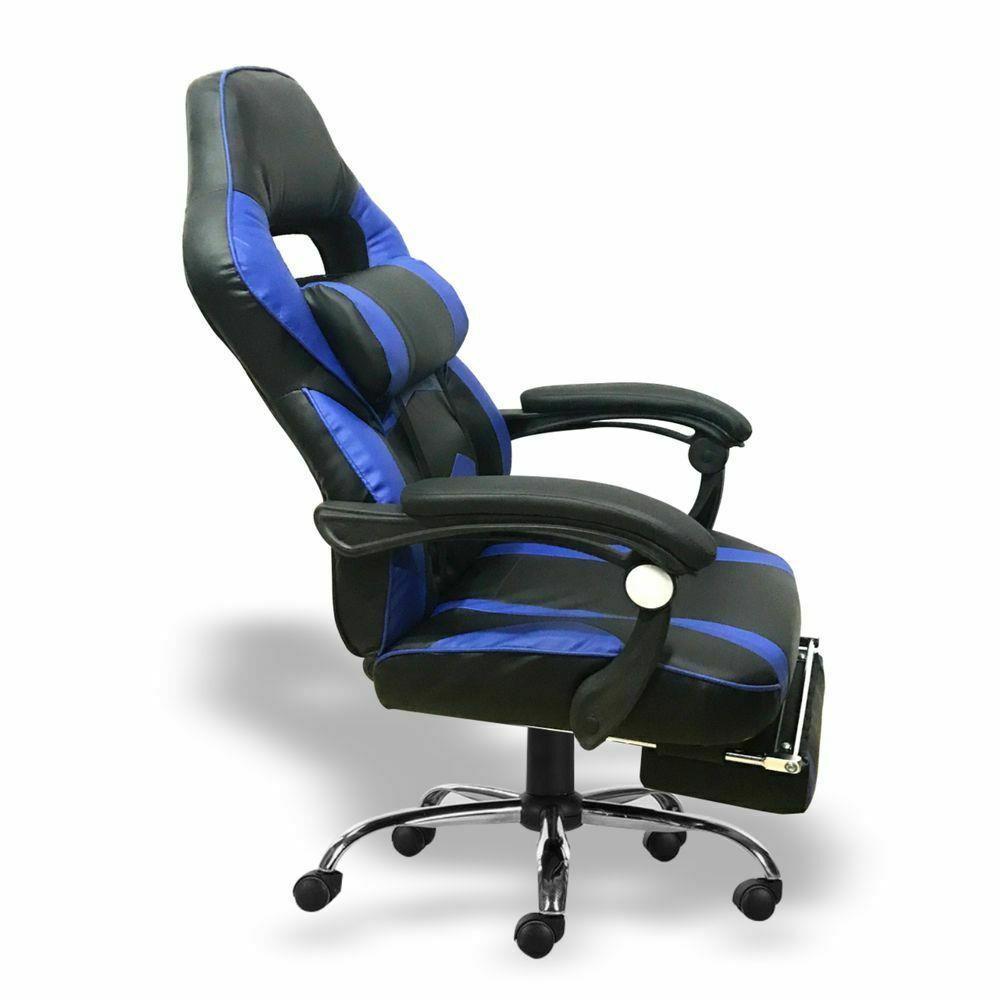 Silla-para-juegos-con-reclinable-silla-de-oficina-de-Carreras-Reposapies-Computadora-Escritorio miniatura 10