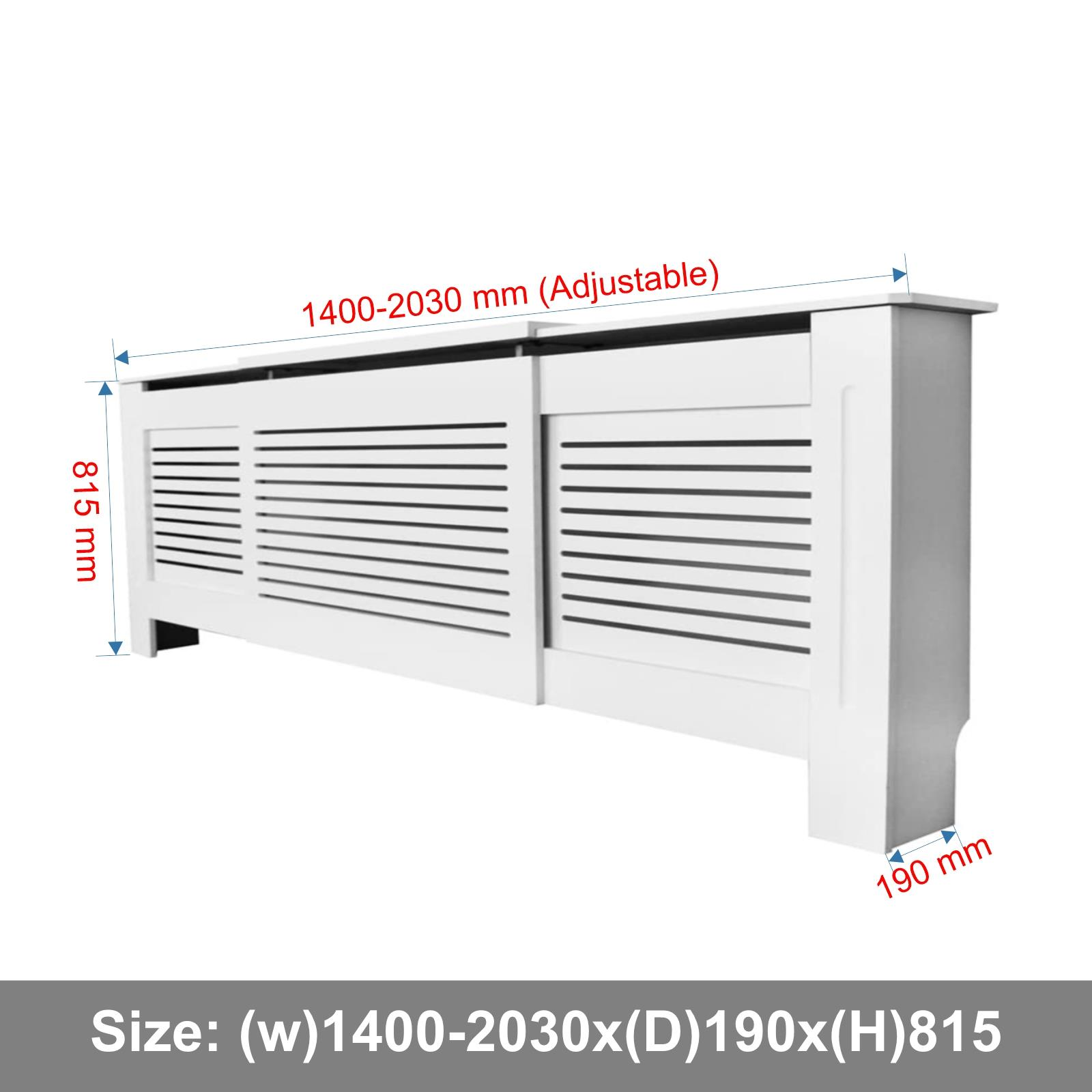 White-Radiator-Cover-Cabinet-Small-Large-Modern-MDF-Slat-Wood-Grill-Furniture miniatuur 26