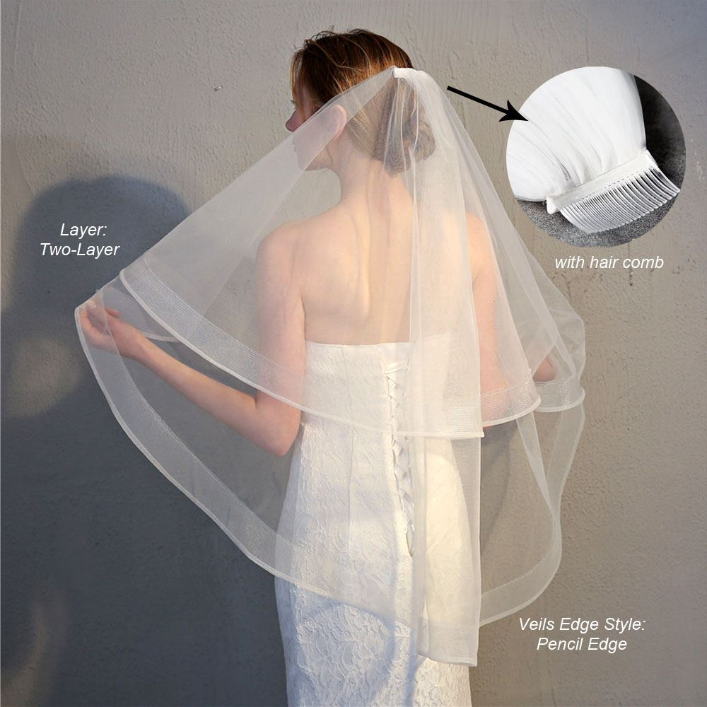 Bridal Veil Net Double-layered Combed White Lace Embroidered Wedding for Ladies