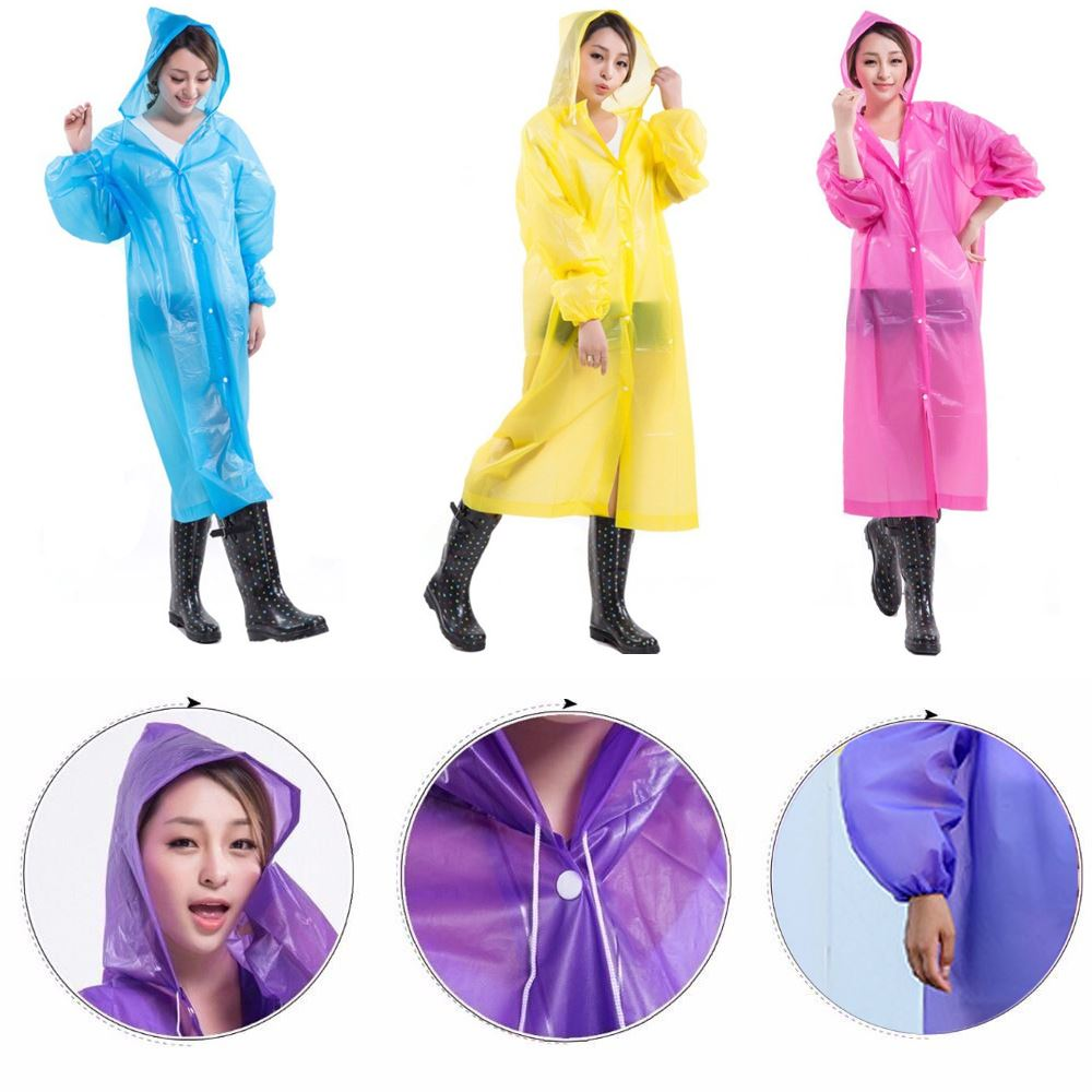 Raincoat Adult Kid Poncho with Reusable Hood Waterproof for Festivals or Camping