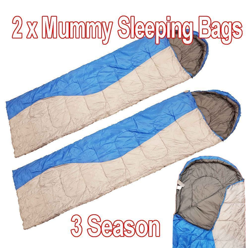 d9a80778b5 2 x Sleeping Bags Hiking Mummy Outdoor Travel Camping Sleep Over Blue   Grey
