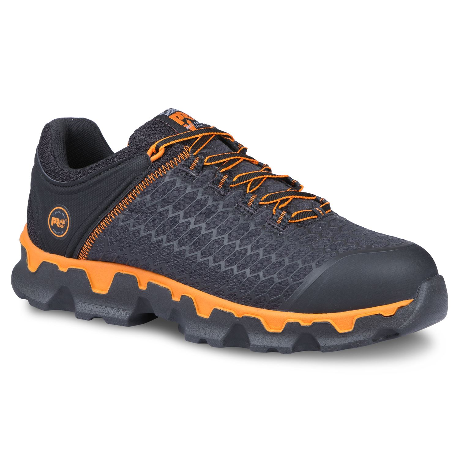 Timberland Pro Shoes Mens Powertrain Sport Alloy Safety Toe Black/Orange
