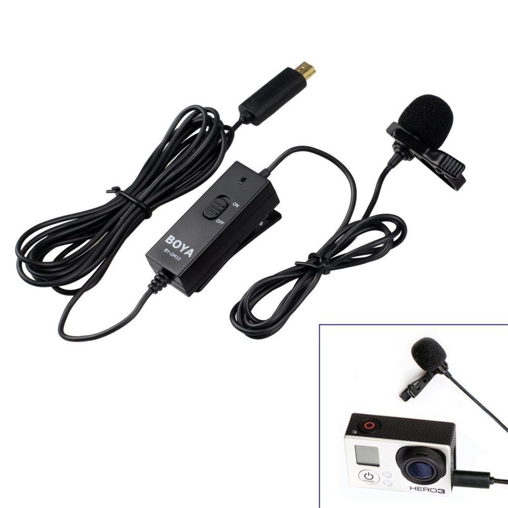 BOYA BY-GM10 Microphone /à Condensateur Lavalier omnidirectionnel Pour GoPro Hero 4 3 3