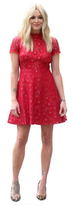 Fearne-Cotton-Red-Dress-Figura-de-carton-en-tamano-natural-o-reducido