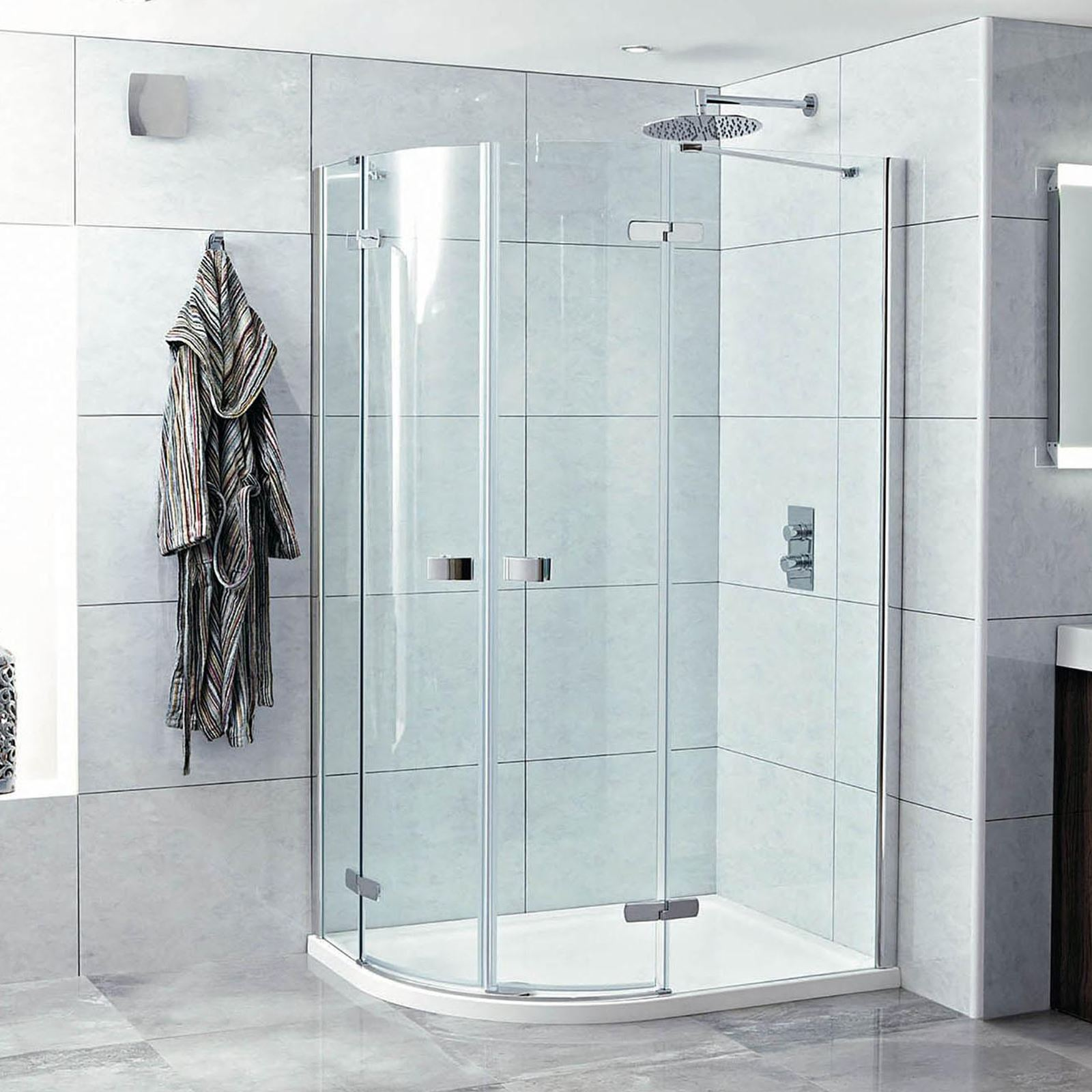 1200mm(w) x 900mm(d) Hinged Offset Quadrant Easy Clean Shower ...