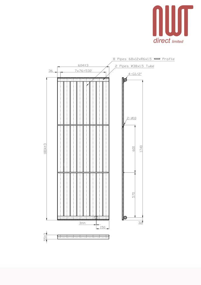 """x 800mm 150w H 500mm /""""PLUTO/"""" Electric ANTRACITE DESIGNER PORTA ASCIUGAMANI W"""