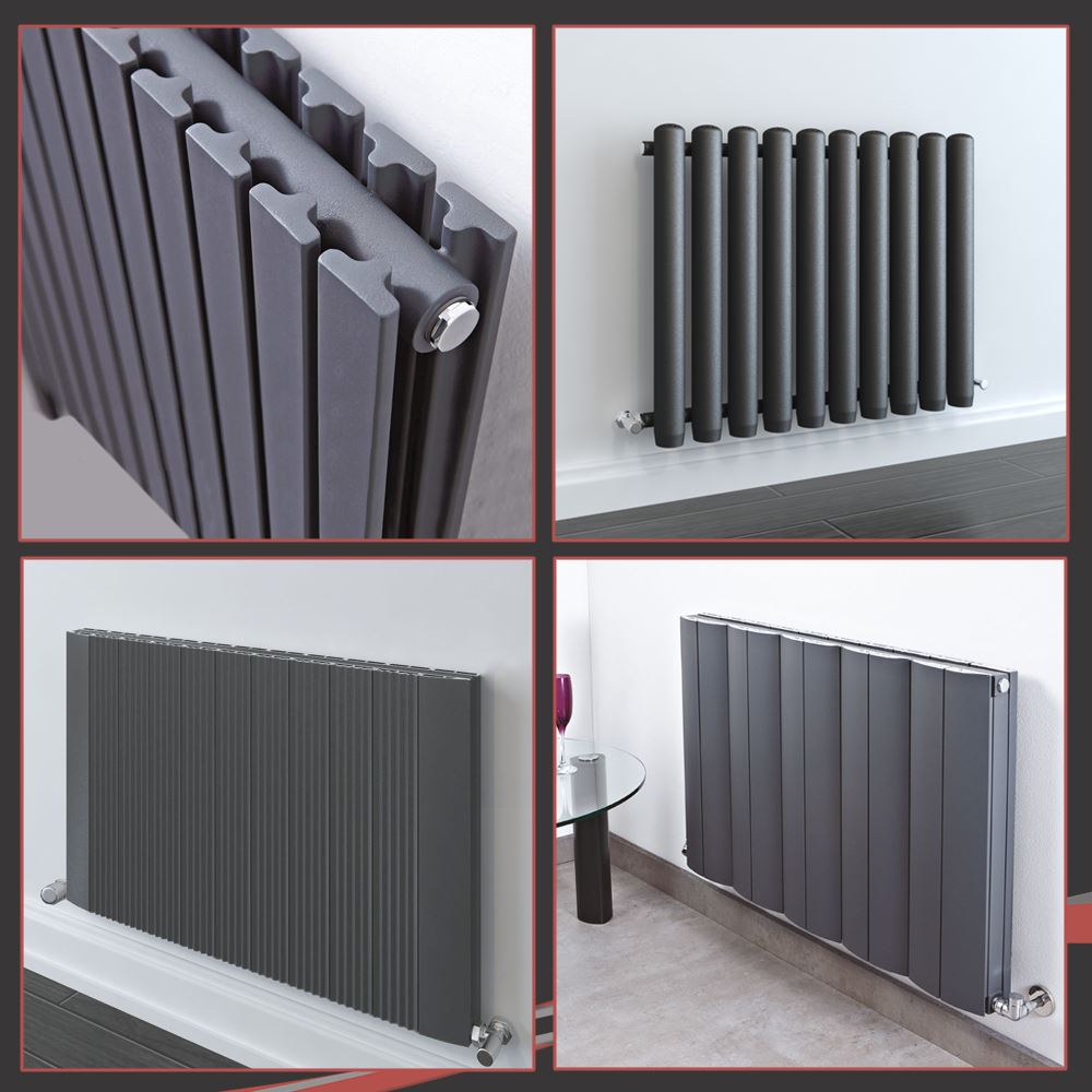 Horizontal Designer Anthracite Radiator Oval Column Double