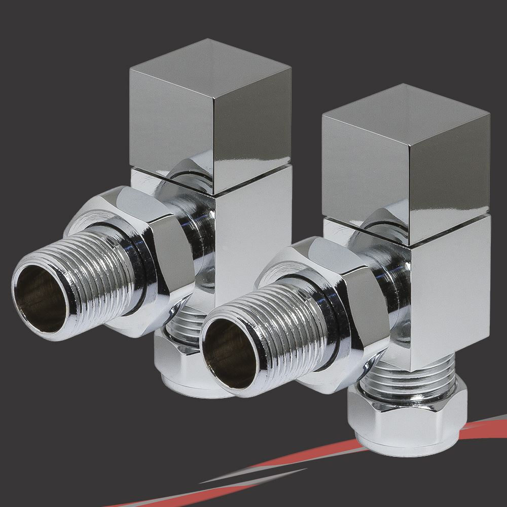 TRV Pair Chrome Angled Valve Set for Radiators /& Towel Rails Thermostatic