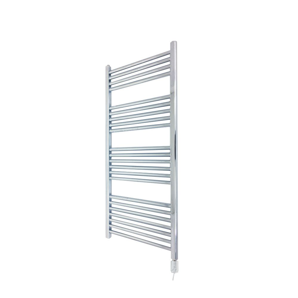 400mm x 1200mm Straight Chrome 300W Thermostatic Electric Towel Rail & Element