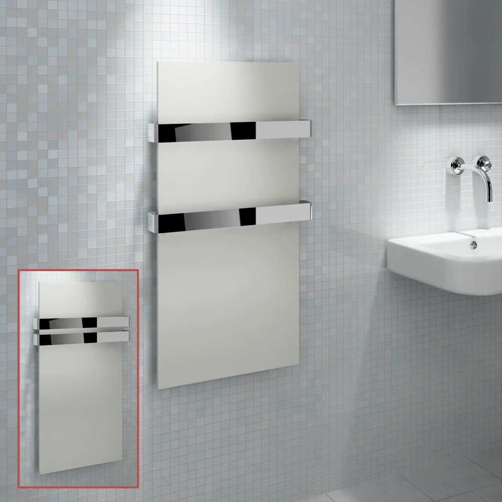 Kudox quotikonquot designer white heated towel rail radiator for Cheap bathroom radiators towel rails